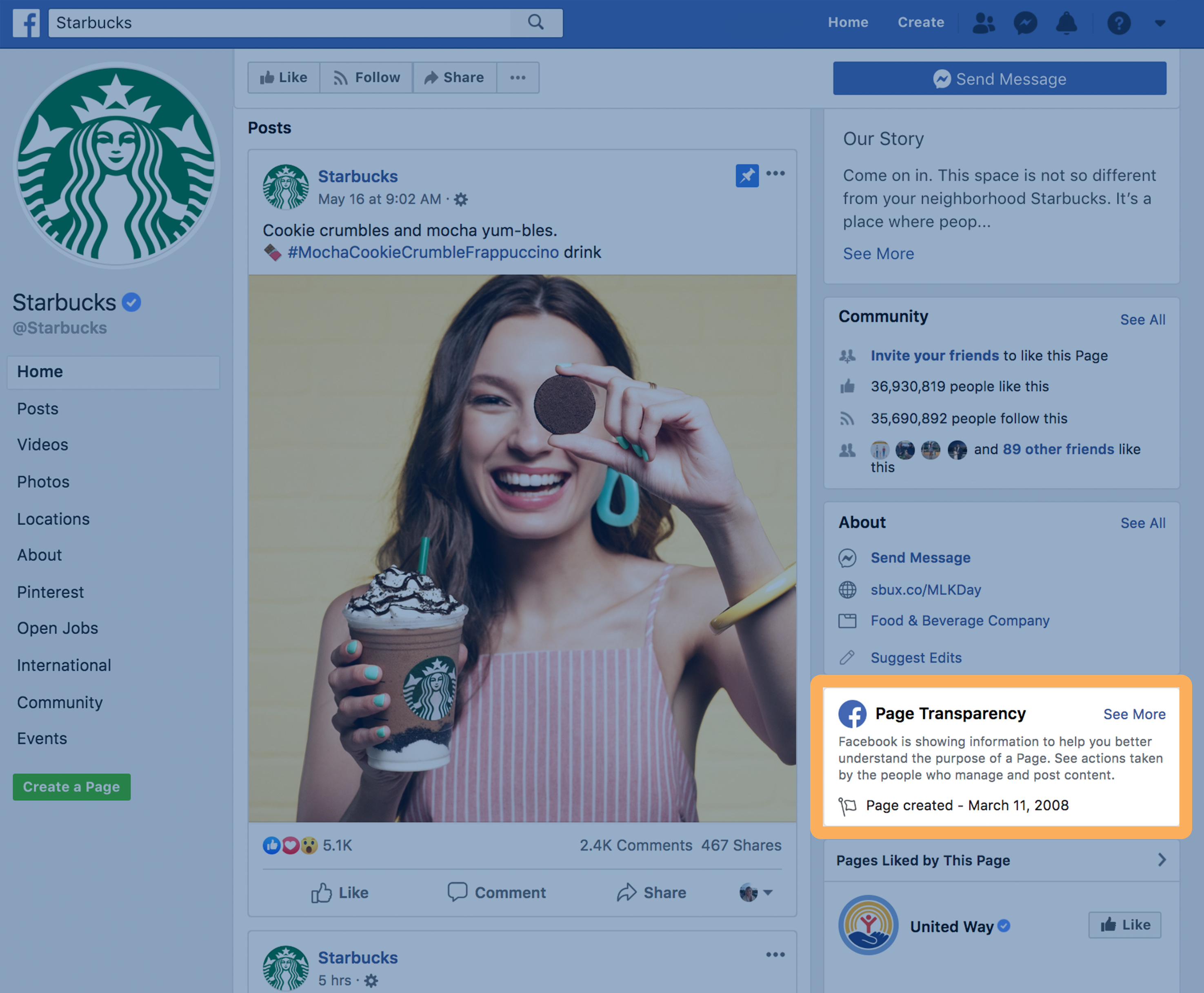 Starbucks Page Transparency Button is on the right rail of Facebook's interface